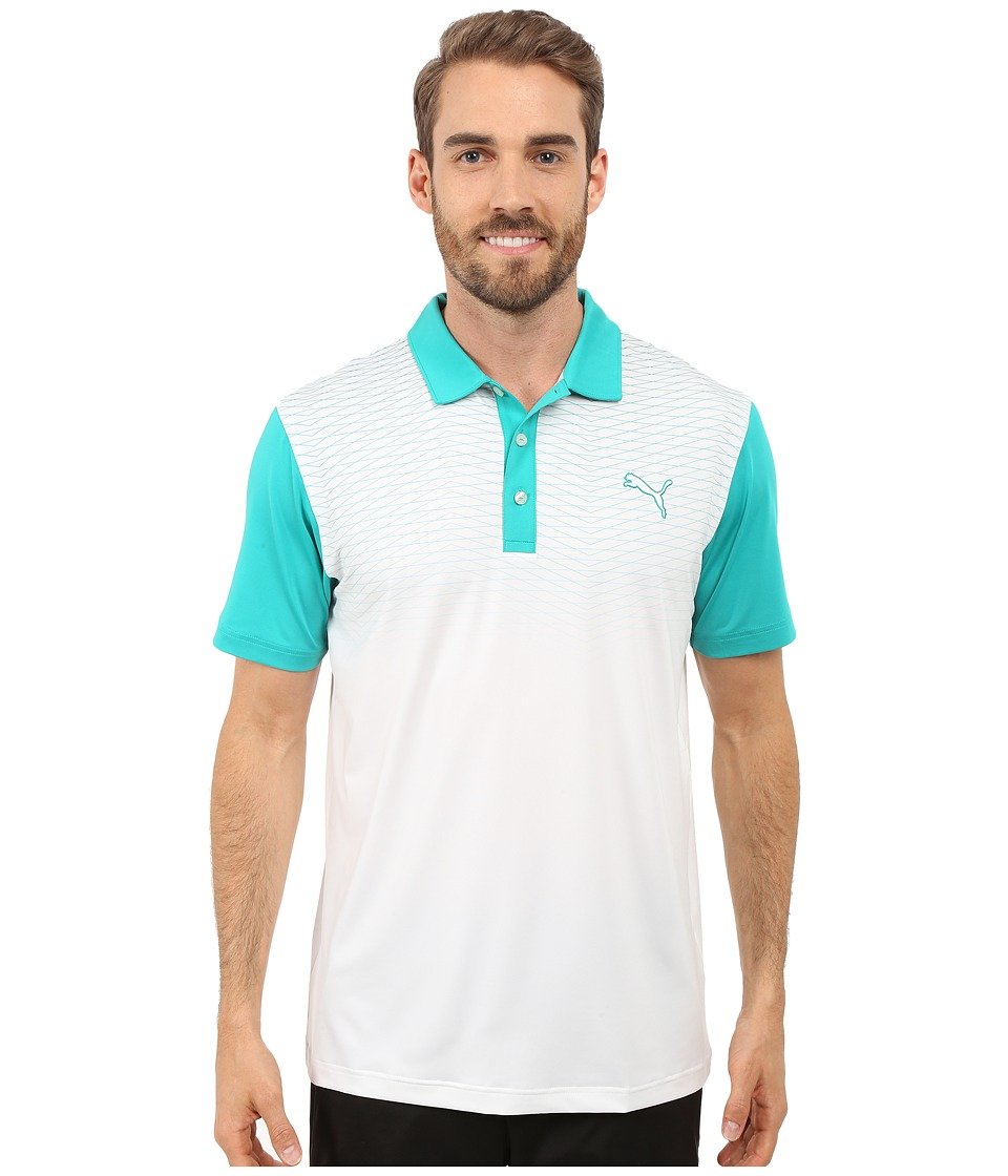 PUMA Golf - GT Color Block Fade Polo (Columbia) Men's Clothing