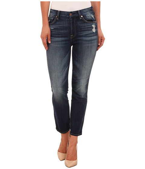 7 For All Mankind - Cropped High Waist Vintage Straight in Icelandic Blue (Icelandic Blue) Women