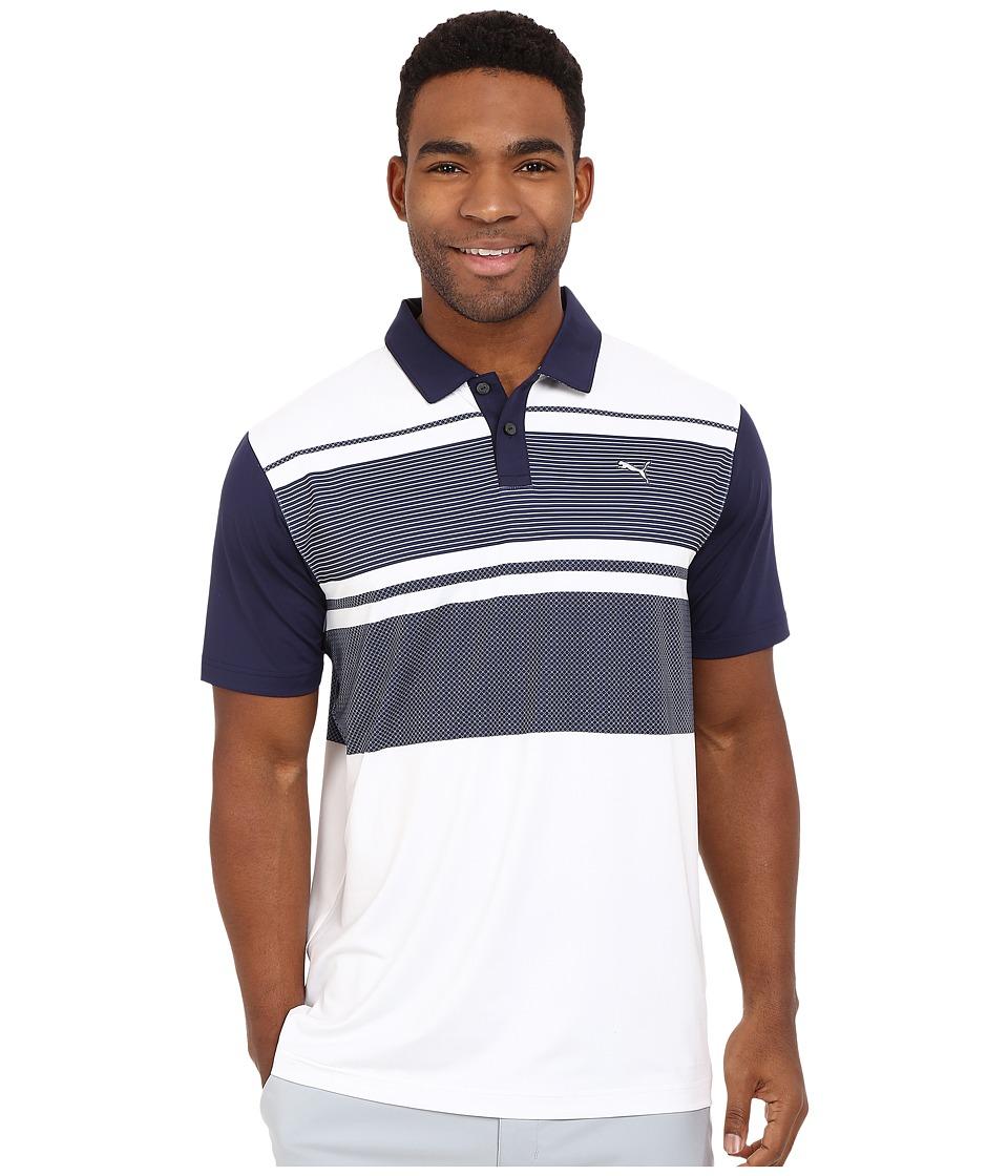PUMA Golf - Short Sleeve Patternblock Polo (Surf the Web) Men's Short Sleeve Pullover