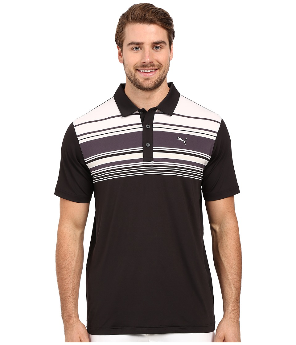 PUMA Golf - Short Sleeve Key Stripe Polo (Black) Men's Short Sleeve Pullover