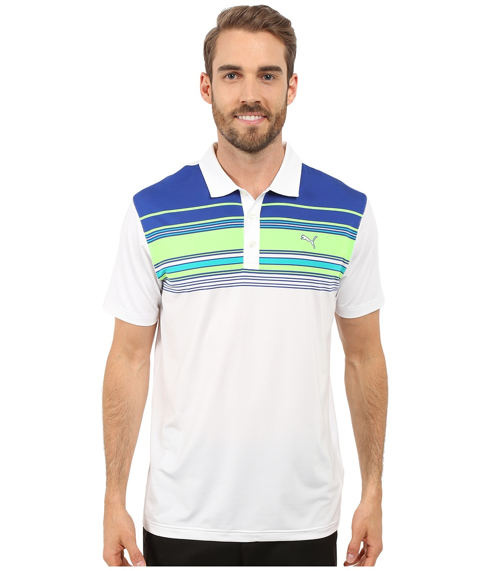 PUMA Golf - Short Sleeve Key Stripe Polo (Bright White) Men's Short Sleeve Pullover