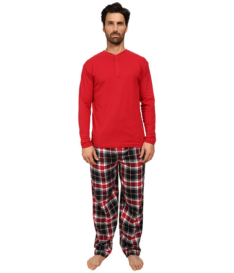 Jockey - Flannel Sleep Pants with Solid Long Sleeve Jersey Henley Top Boxed Set (Red) Men