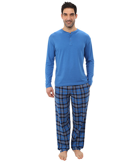 Jockey - Flannel Sleep Pants with Solid Long Sleeve Jersey Henley Top Boxed Set (Blue) Men's Pajama Sets
