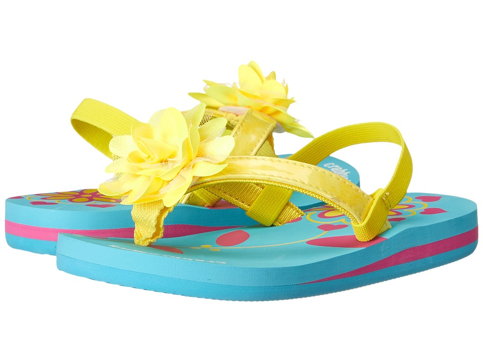 Crabbyclaws - Flower (Toddler/Little Kid/Big Kid) (Yellow Patent) Girl's Shoes