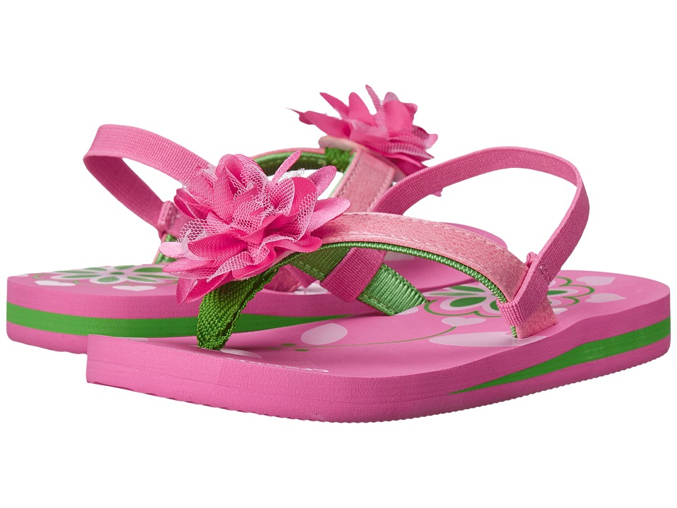 Crabbyclaws - Flower (Toddler/Little Kid/Big Kid) (Pink/Green) Girl's Shoes