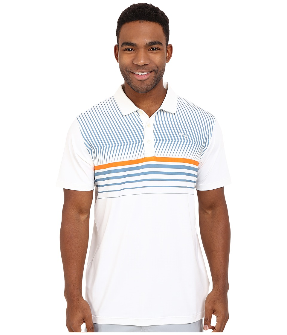 PUMA Golf - Short Sleeve Surface Stripe Polo (Bright White) Men's Short Sleeve Pullover
