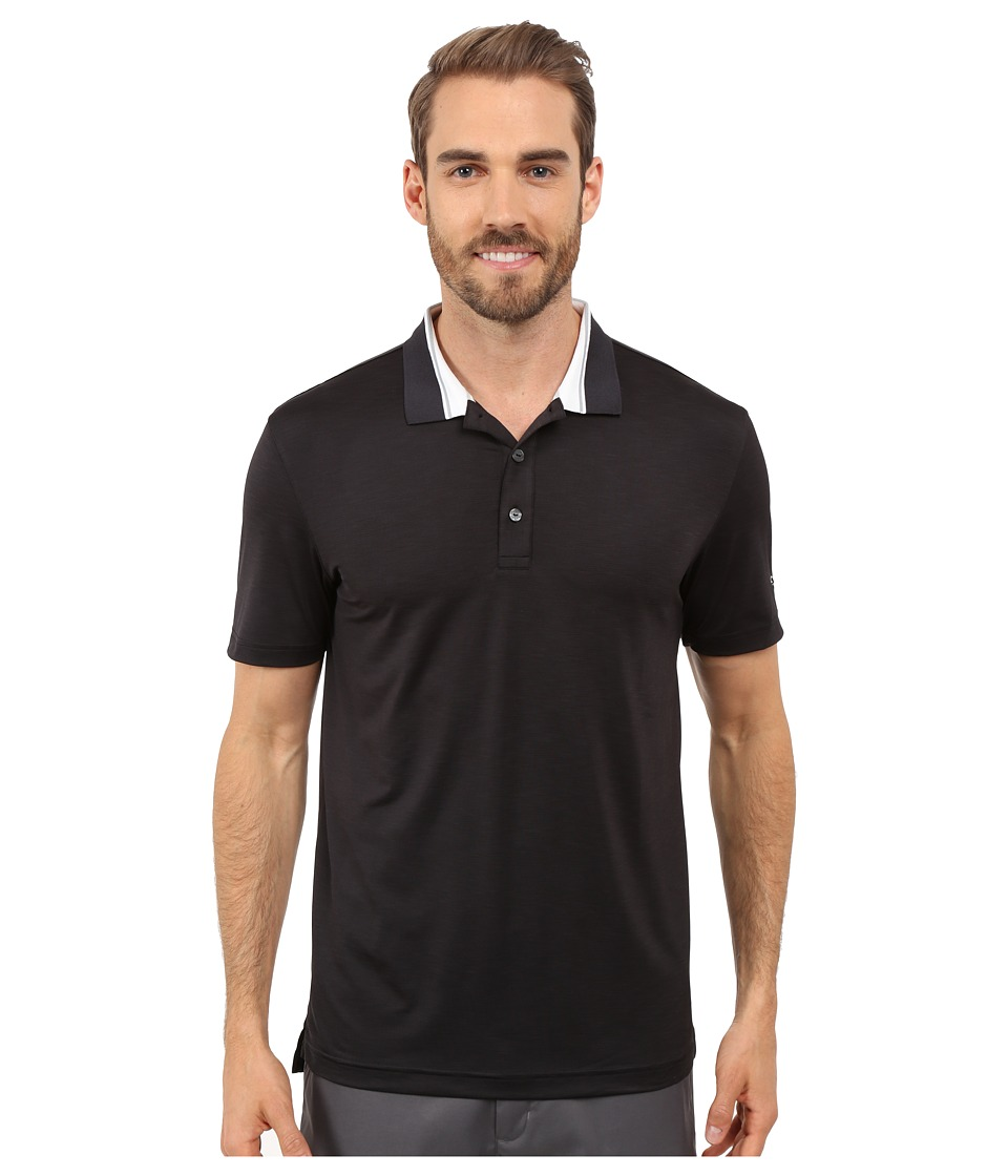 PUMA Golf - Short Sleeve Tailored Stripe Polo (Black) Men's Short Sleeve Pullover