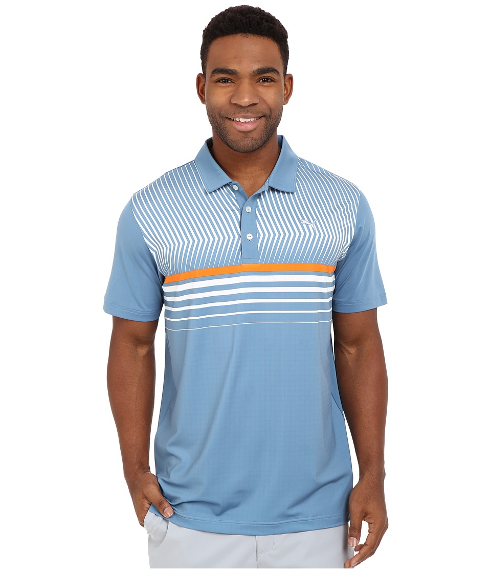 PUMA Golf - Short Sleeve Surface Stripe Polo (Blue Heaven) Men's Short Sleeve Pullover