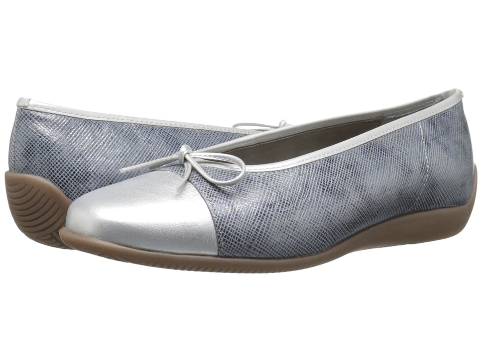 ara - Bella (Blue Metallic/Silver Metallic) Women's Dress Flat Shoes