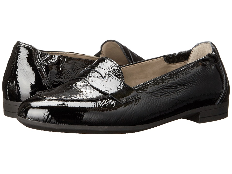 ara - Christine (Black Crinkle Patent) Women's Slip on Shoes