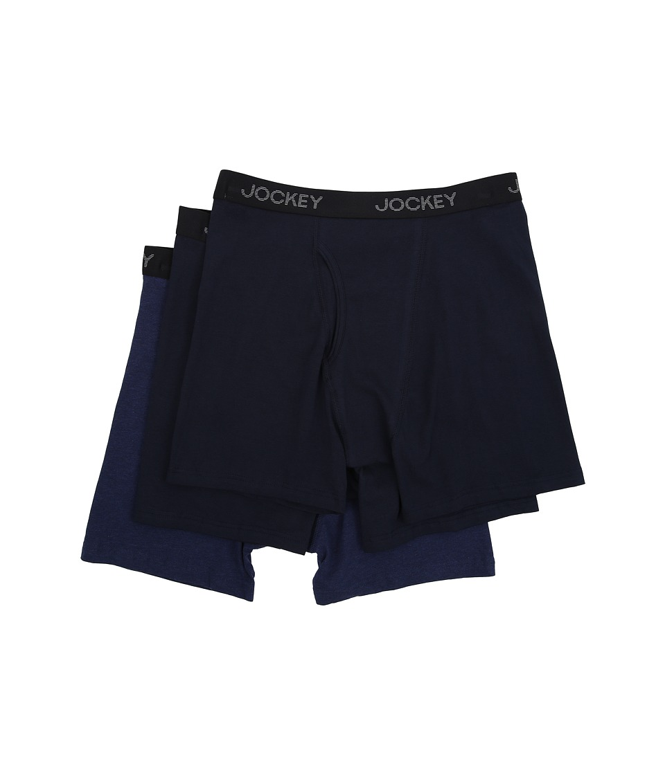 Jockey - Cotton Stretch Full Rise Midway Brief (Navy/Grey Assort) Men's Underwear