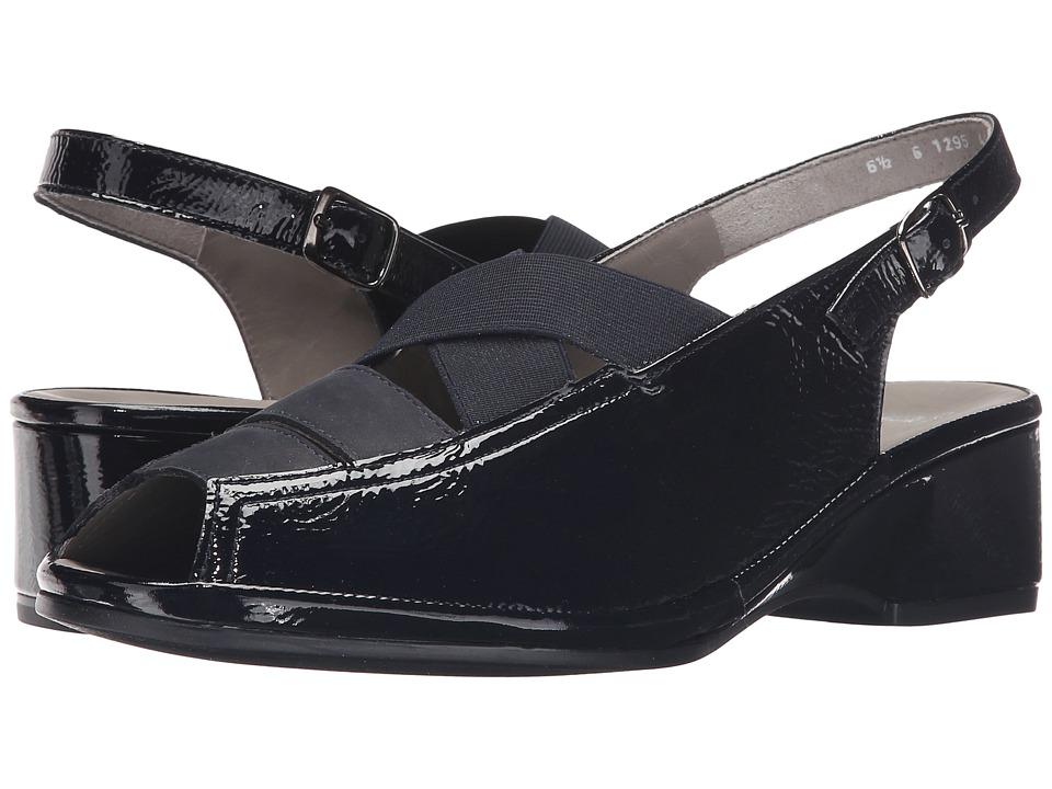 ara - Rumor (Navy Crinkle Patent/Nubuck) Women's Wedge Shoes