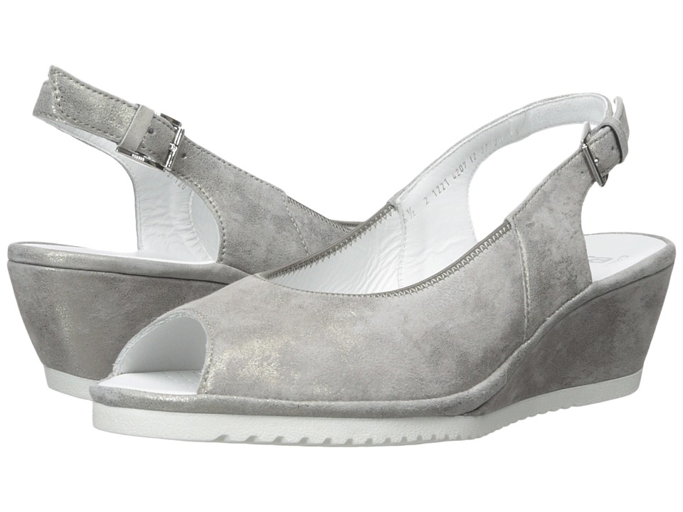 ara - Colleen (Grey Metallic Suede) Women's Sling Back Shoes