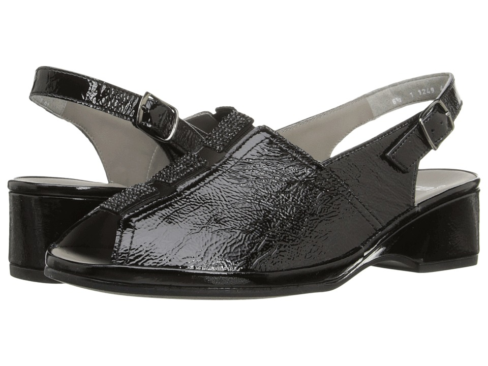 ara - Rogue (Black Crinkle Patent/Suede) Women's Sling Back Shoes