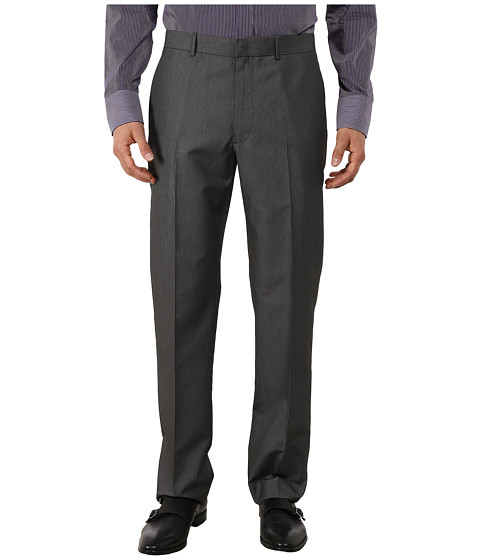 Perry Ellis - Micro Twill Heather Flat Front Pants (Charcoal) Men