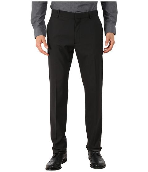 Perry Ellis - Slim Fit Tonal Mini Check Flat Front Pants (Black) Men's Casual Pants