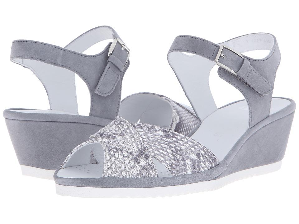 ara - Cadence (Grey Snake Print/Suede) Women's Sandals