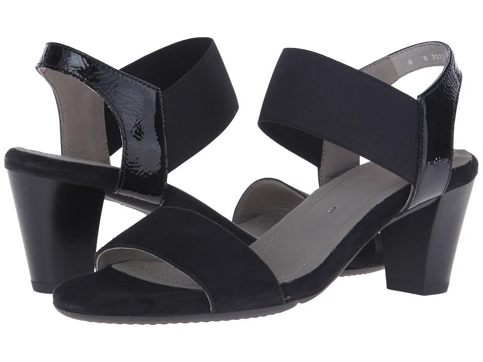 ara - Ronda (Black Suede/Patent Elastic) Women's Sandals