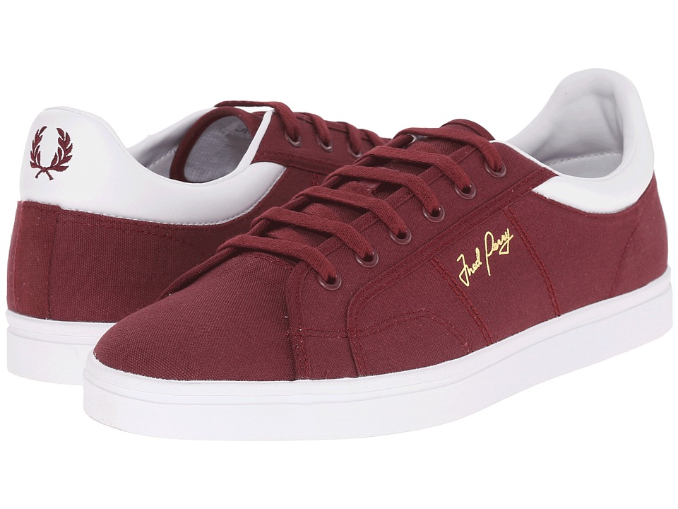 Fred Perry - Sidespin Canvas (Port/White) Men's Lace up casual Shoes