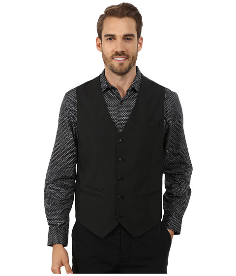 Perry Ellis - Tonal Mini Check Suit Vest (Black) Men