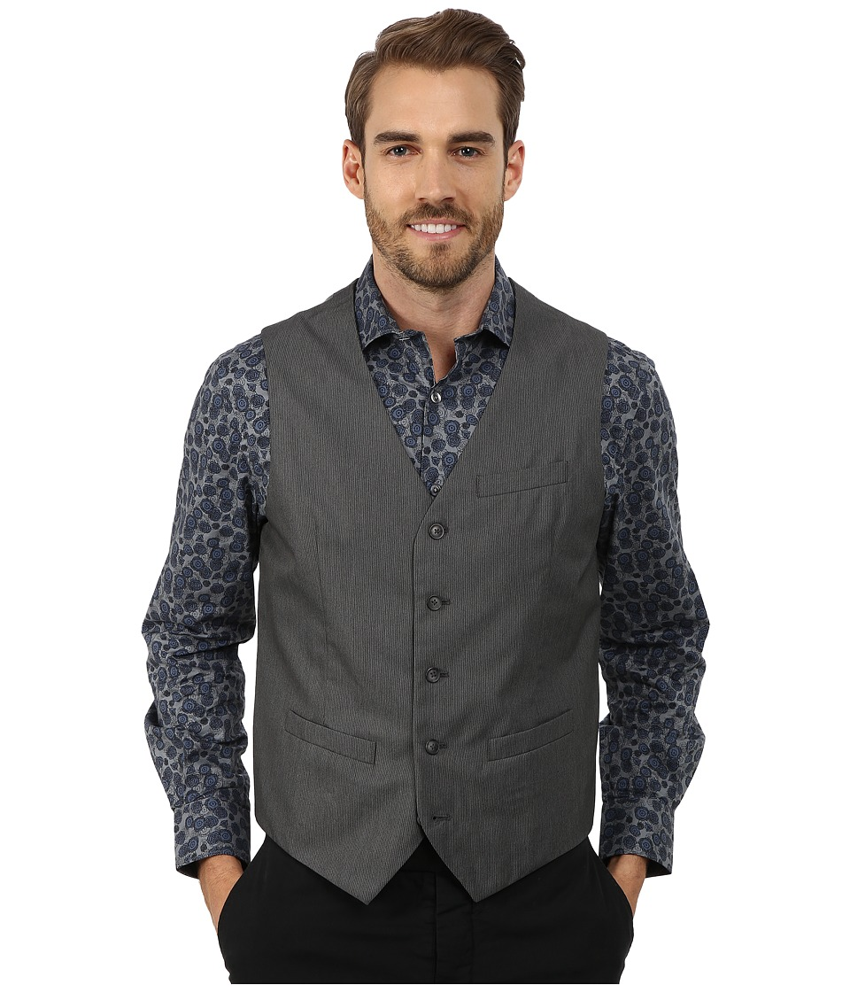Perry Ellis Micro Twill Heather Five-Button Vest (Charcoal) Men