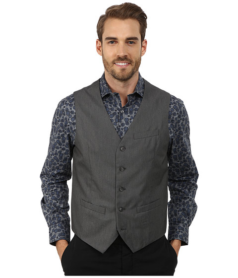Perry Ellis - Micro Twill Heather Five-Button Vest (Charcoal) Men