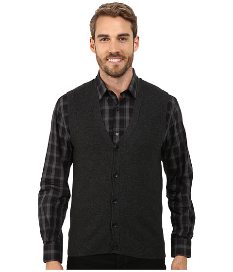 Perry Ellis - Cotton Blend Solid Sweater Vest (Charcoal Heather) Men