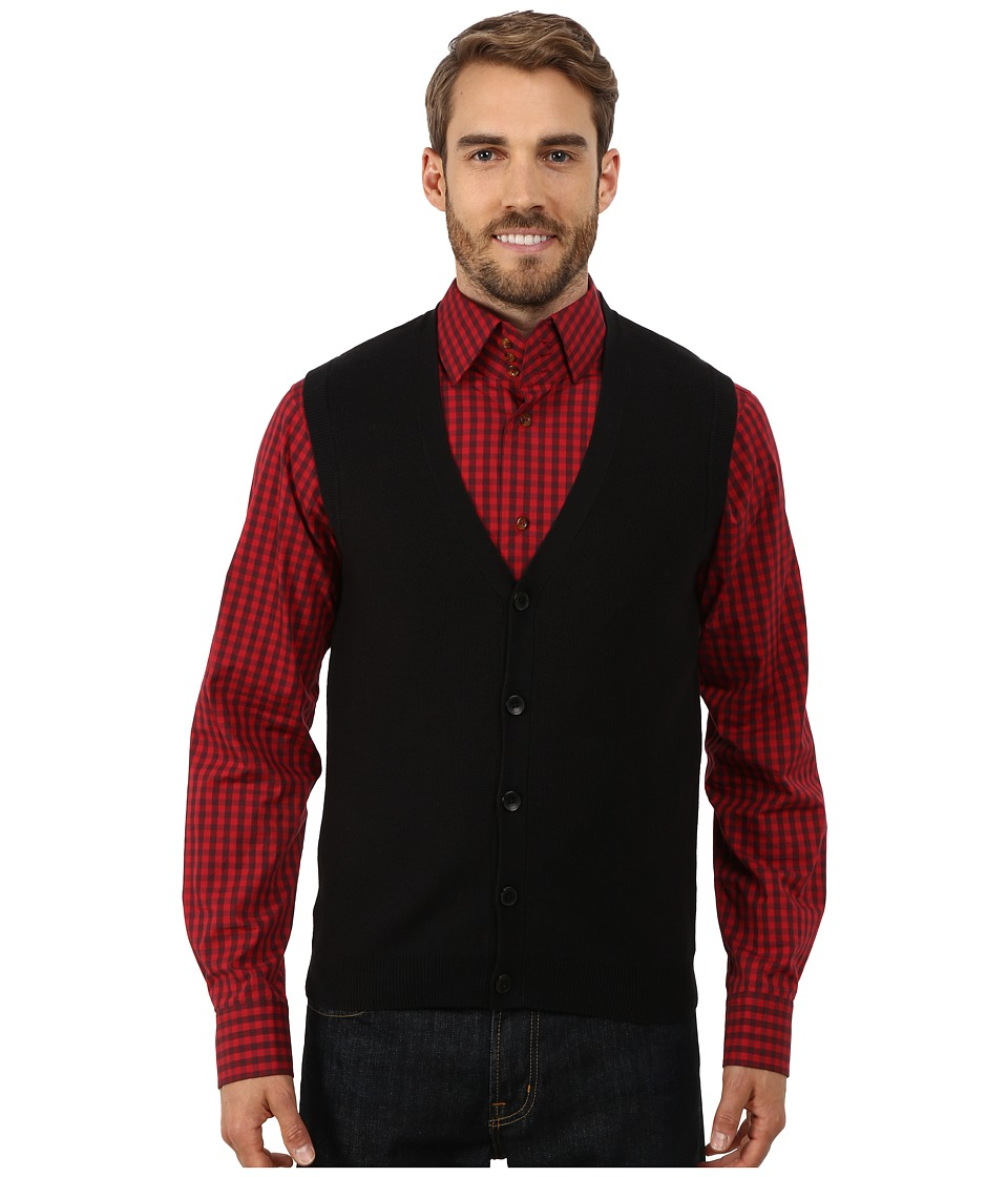 Perry Ellis - Cotton Blend Solid Sweater Vest (Black) Men's Vest