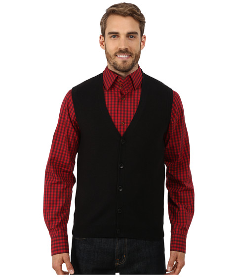 Perry Ellis - Cotton Blend Solid Sweater Vest (Black) Men