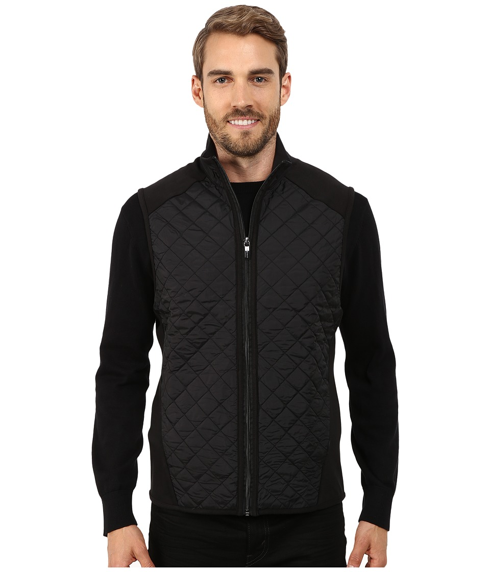 Perry Ellis - Quilted Mix Media Vest (Black) Men