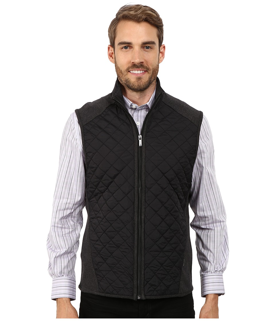Perry Ellis - Quilted Mix Media Vest (Charcoal Heather) Men