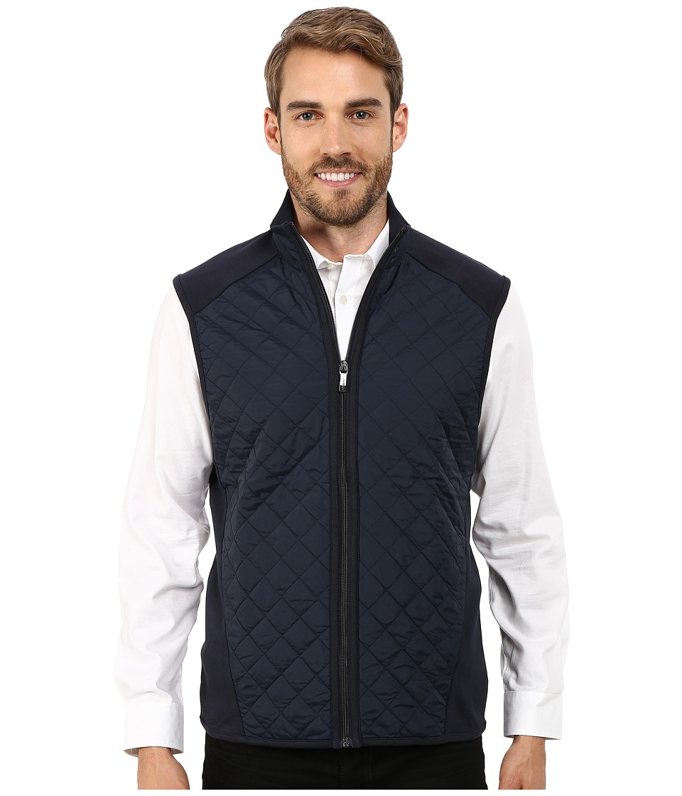 Perry Ellis - Quilted Mix Media Vest (Dark Sapphire) Men