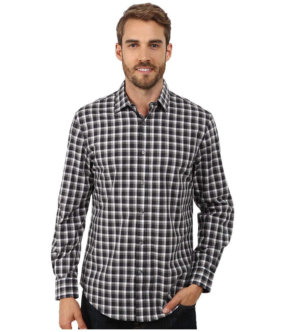 Perry Ellis - Long Sleeve Heather Check Pattern Shirt (Charcoal Heather) Men's Clothing