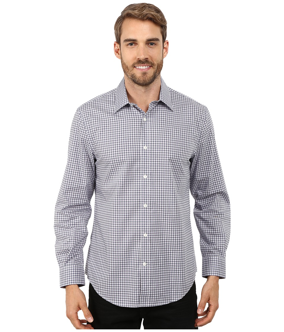 Perry Ellis - Long Sleeve Double Check Pattern Shirt (Crocus) Men's Clothing
