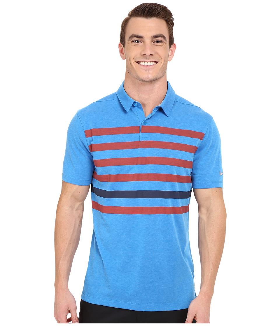 Nike Golf - Transition Stripe Polo (Photo Blue/Bright Crimson/Obsidian/Flt Silver) Men's Short Sleeve Pullover