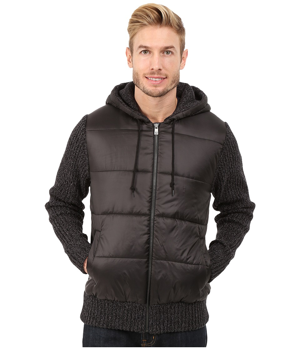 DKNY Jeans - Long Sleeve Quilted Front Full Zip Hooded Sweater (Black) Men's Sweater