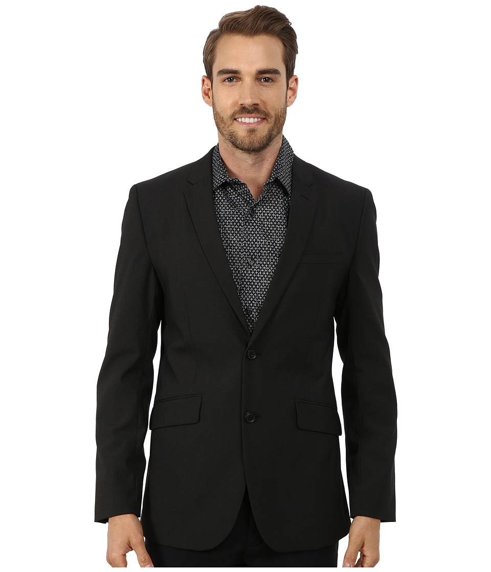 Perry Ellis - Slim Fit Tonal Mini Check Suit Jacket (Black) Men's Coat