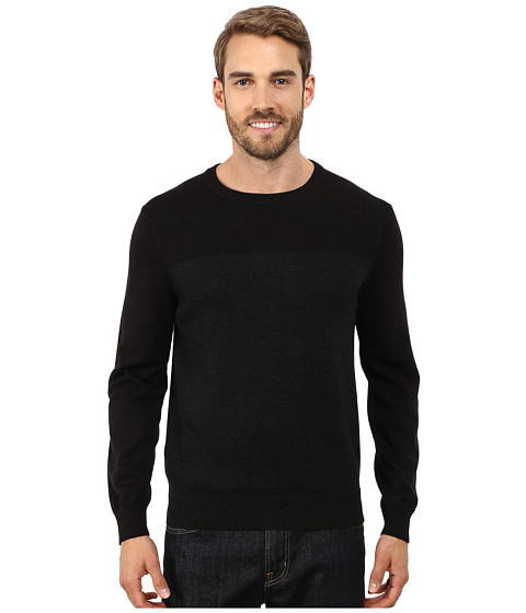 Perry Ellis - Color Block Crew Beck Sweater (Black Heather) Men