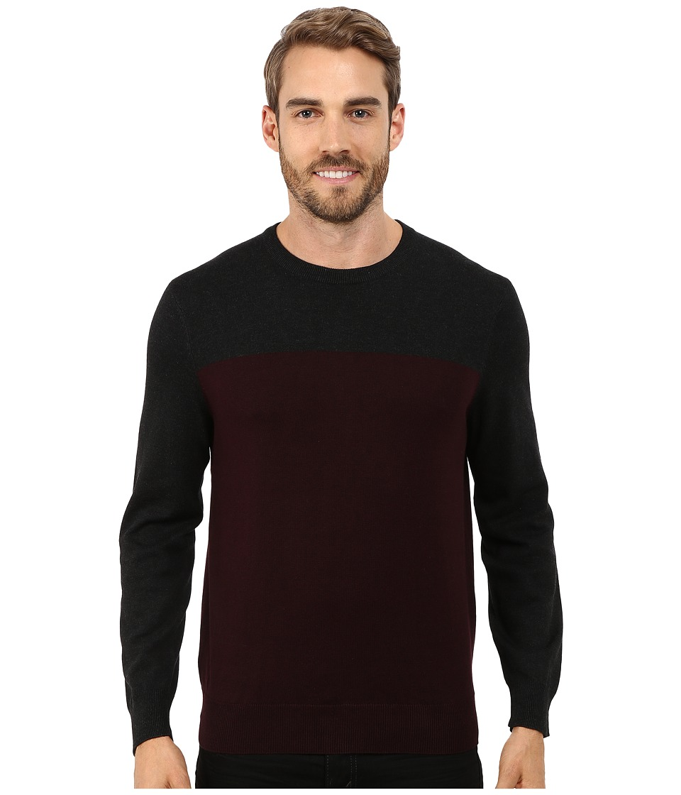Perry Ellis - Color Block Crew Beck Sweater (Port) Men's Sweater