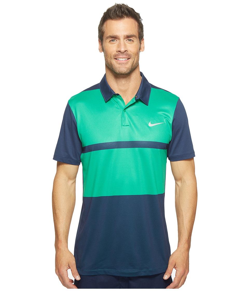 Nike - Momentum Framing Color Block (Midnight Navy/Lucid Green/Lucid Green/Flt Silver) Men's Short Sleeve Pullover
