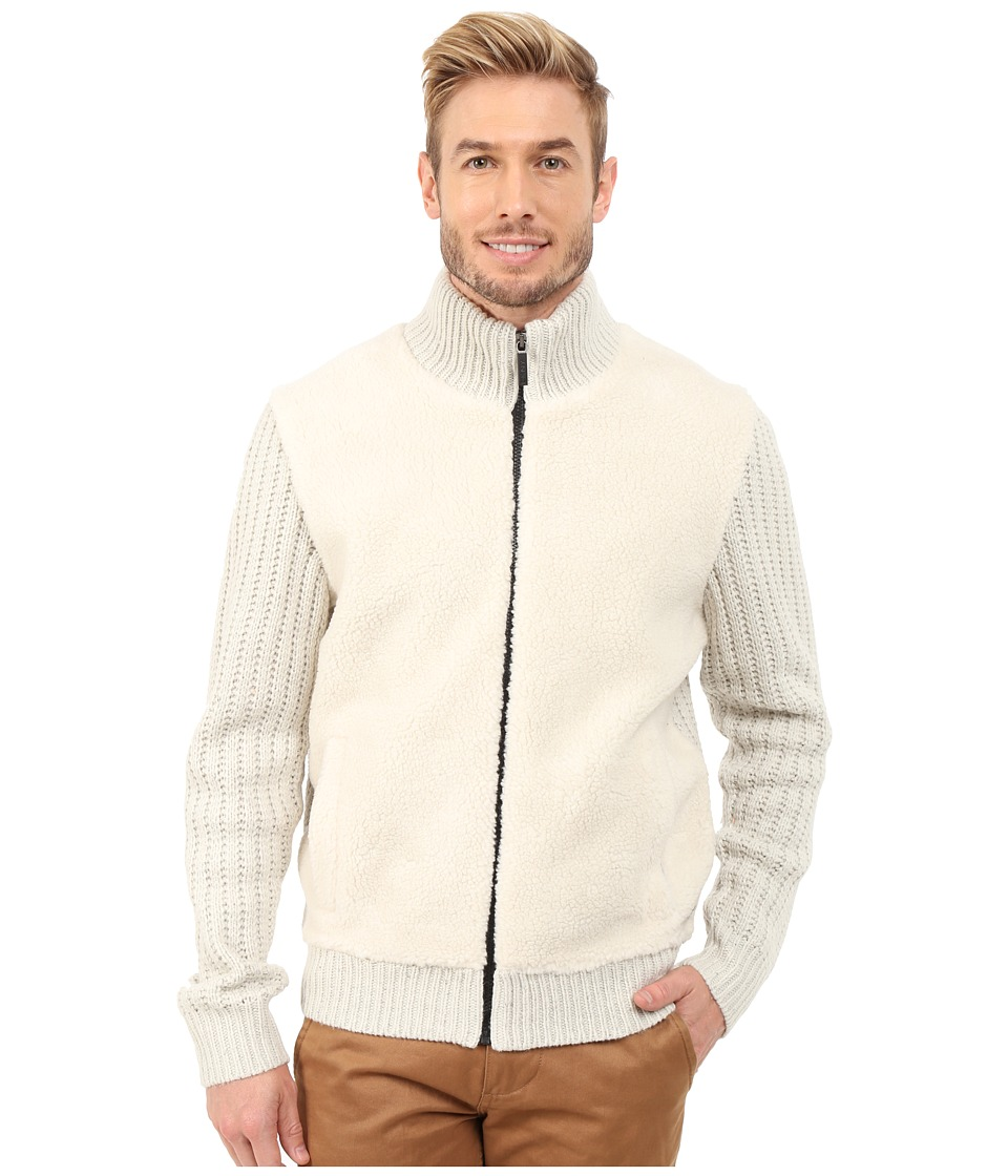 DKNY Jeans - Long Sleeve Tweed Yarn Full Zip Mock Neck Sweater w/ Sherpa Front (Ivory) Men