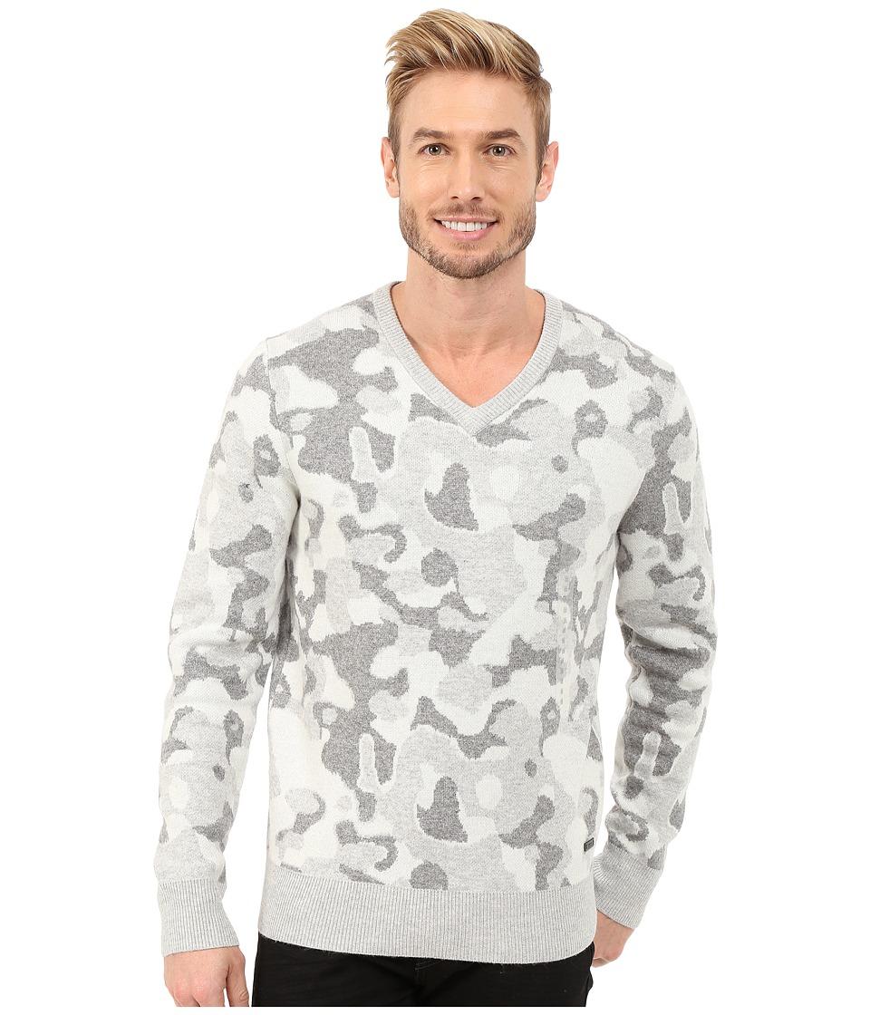 DKNY Jeans - Long Sleeve Camo Jacquard V-Neck Sweater (Light Heather Grey) Men's Sweater