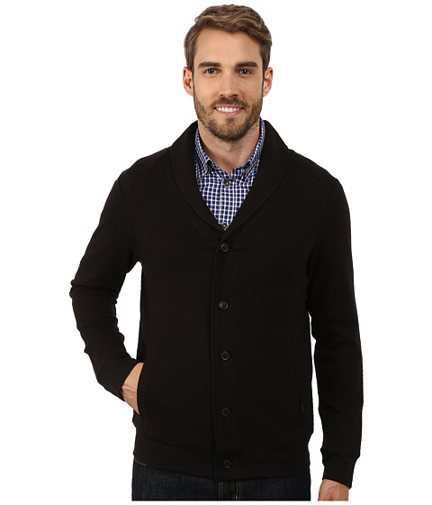 Perry Ellis - Quilted Shawl Button Front Cardigan (Black) Men
