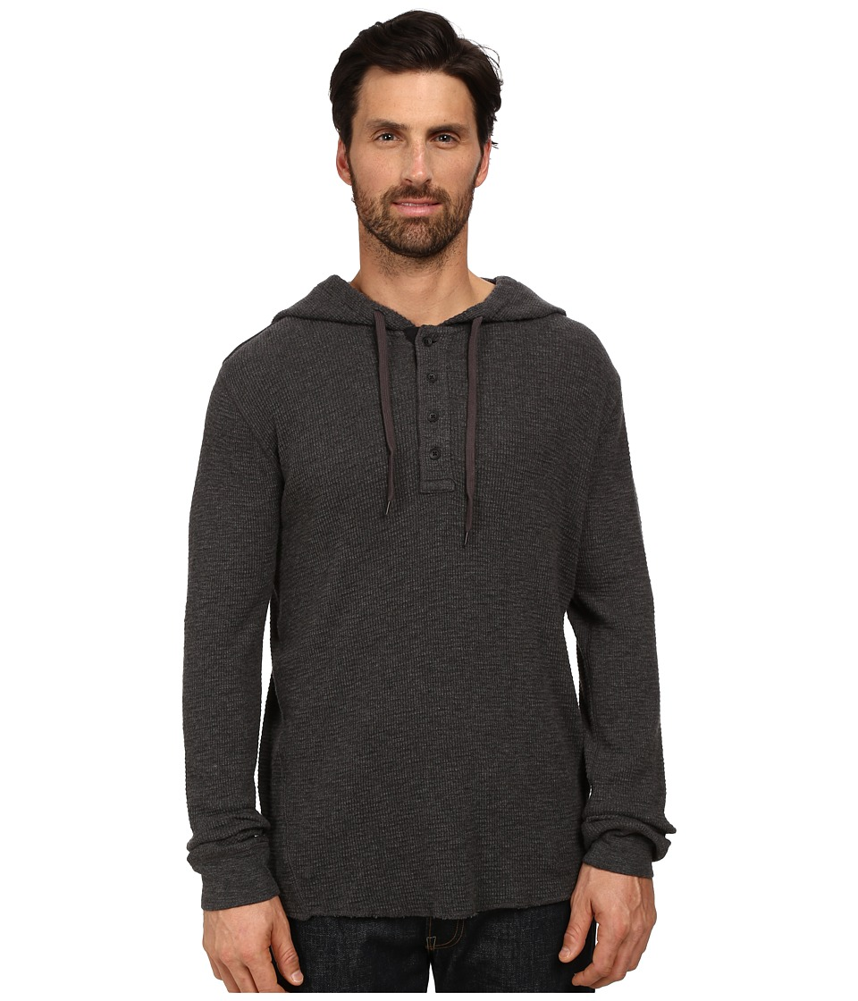 DKNY Jeans - Long Sleeve Heavy Weight Slub Waffle Hooded Henley (Dark Heather Grey) Men's Clothing