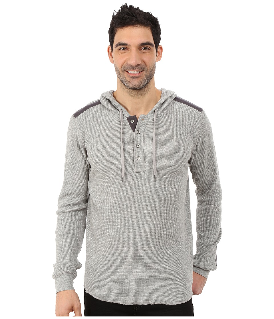 DKNY Jeans - Long Sleeve Heavy Weight Slub Waffle Hooded Henley (Heather Grey) Men's Clothing