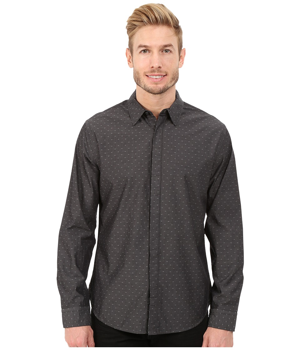 DKNY Jeans - Long Sleeve Yarn Dye Dobby Dot Shirt (Grey) Men's Long Sleeve Button Up