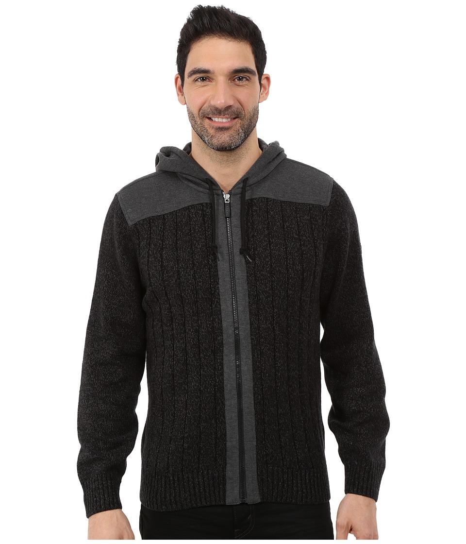 DKNY Jeans - Long Sleeve Rib Full Zip Hooded Sweater (Black) Men