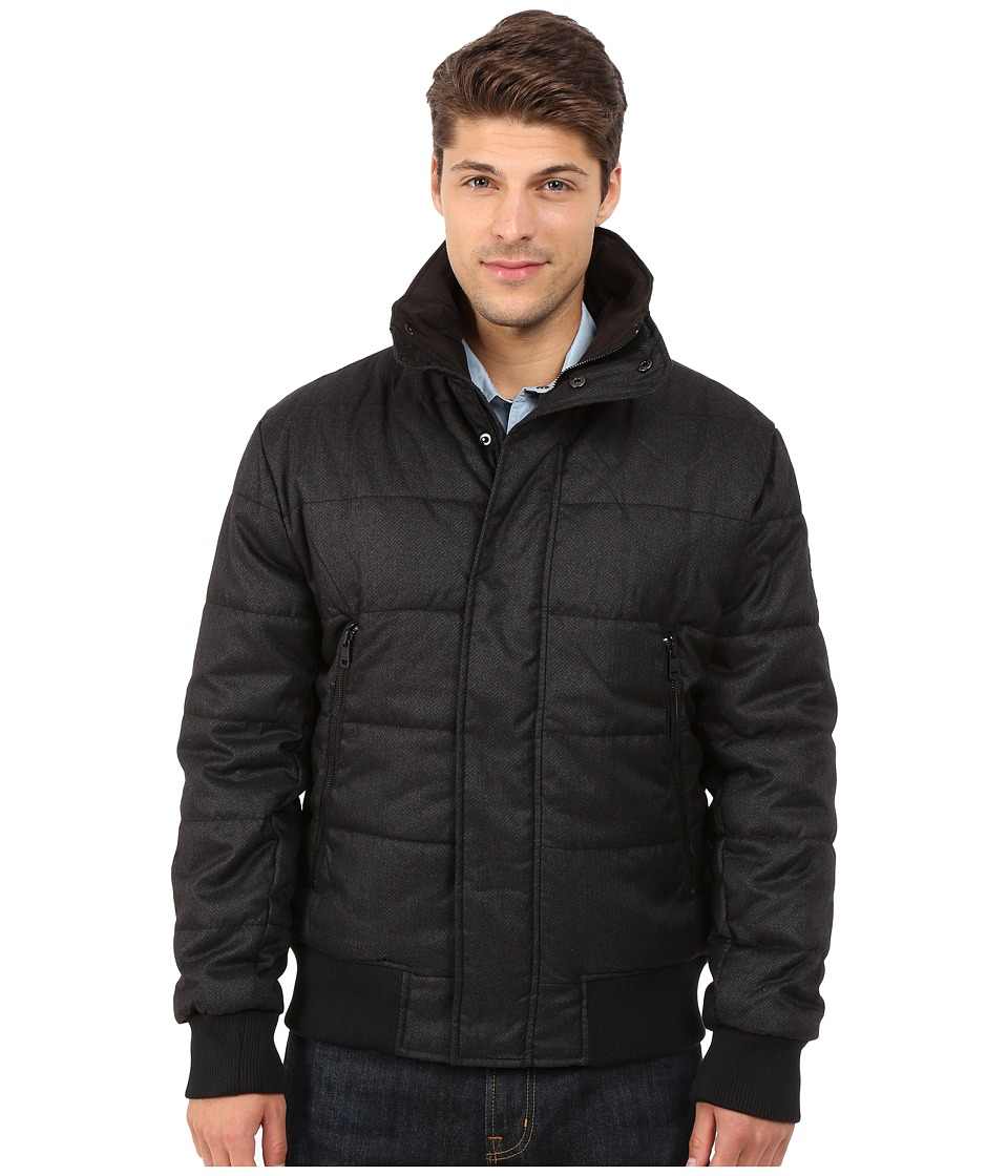 DKNY Jeans - Herringbone Printed Puffer Jacket (Black) Men