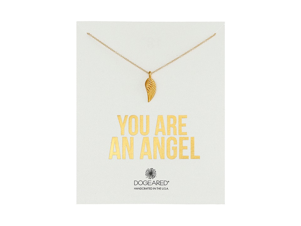 Dogeared - You Are an Angel Single Wing Necklace (Gold Dipped) Necklace