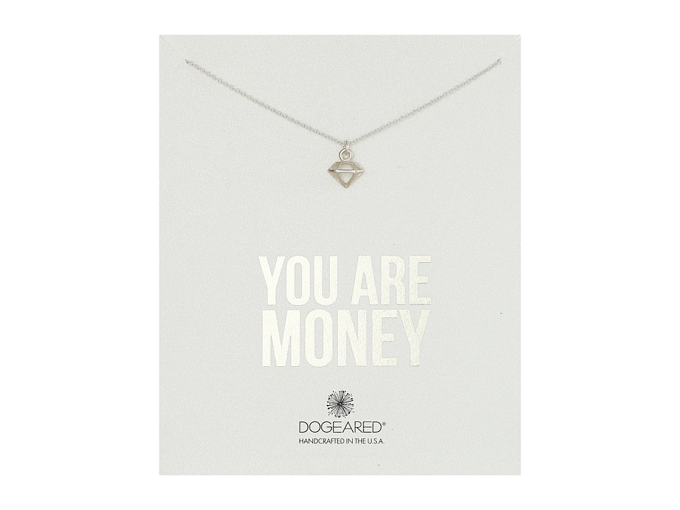 Dogeared - You Are Money Diamond Charm Necklace (Sterling Silver) Necklace